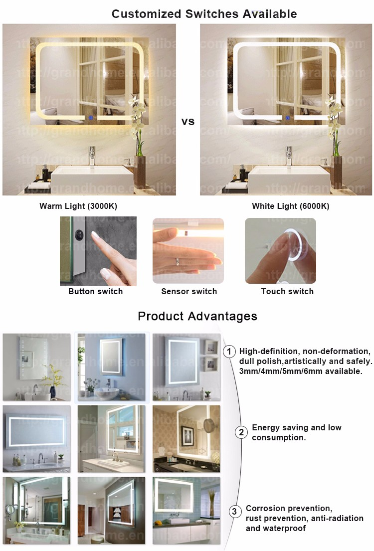 Cheap Price New Fashion Antique Led smart Novelty Bathroom Mirror