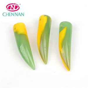 Chinese factory wholesale unique crystal smooth glass beads special chili shape pendant green and yellow for jewelry making