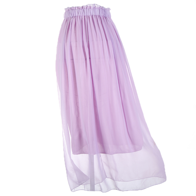 322aea4e7e3c3 Get Quotations · 2014 New Fashion Women Ladies Maxi Skirt Chiffon Pleated  Long Elasticated Waist Band Light Purple