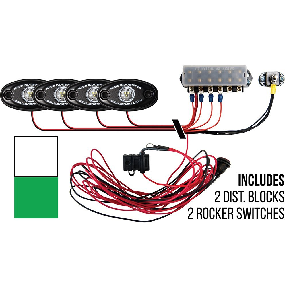 Rigid Industries Signature Series Deck Light Kit - 2 Cool White, 2 Green Lights