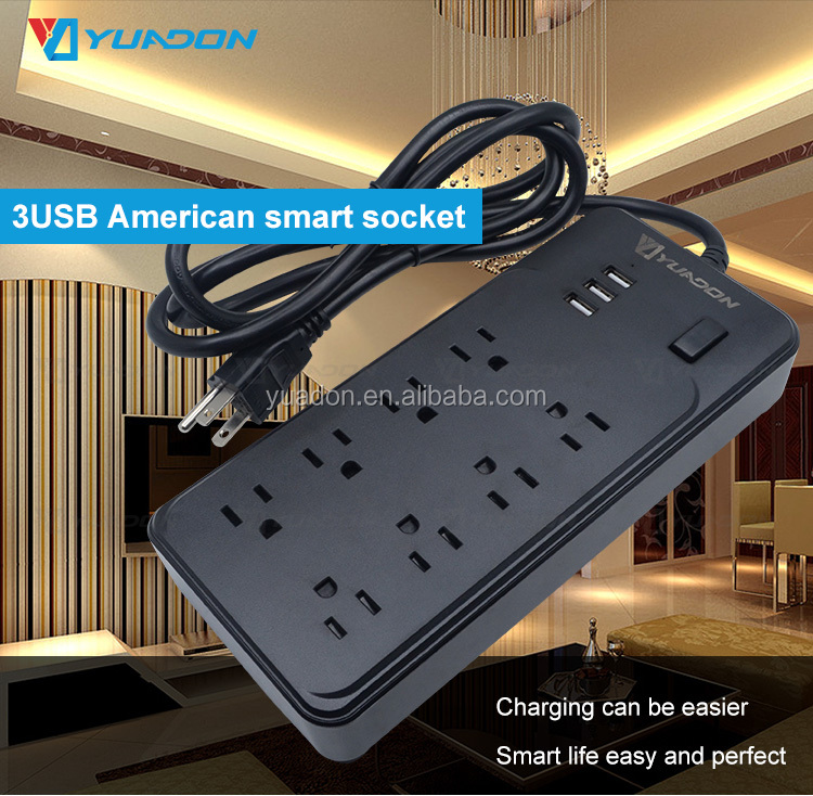 Gold Leverancier 3 Usb-poort Opladen 8 Gang/Manier Elektrische Ac Outlet Usa Power Strip Ons Extension Socket