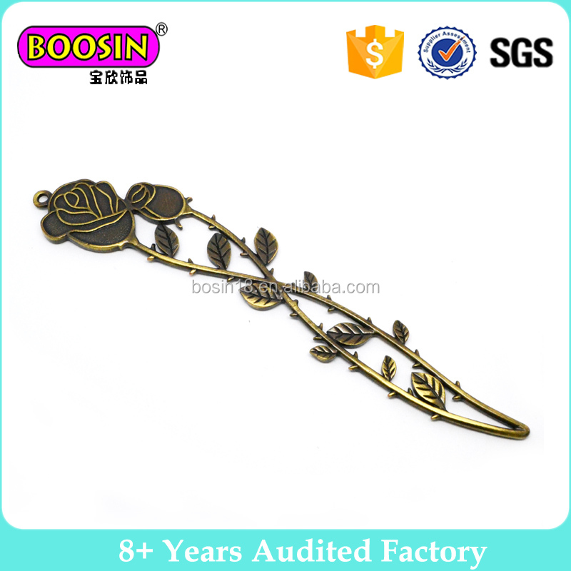 Fashion Rose Flower Metal Material Metal Bookmarks For Gift Item Wholesales