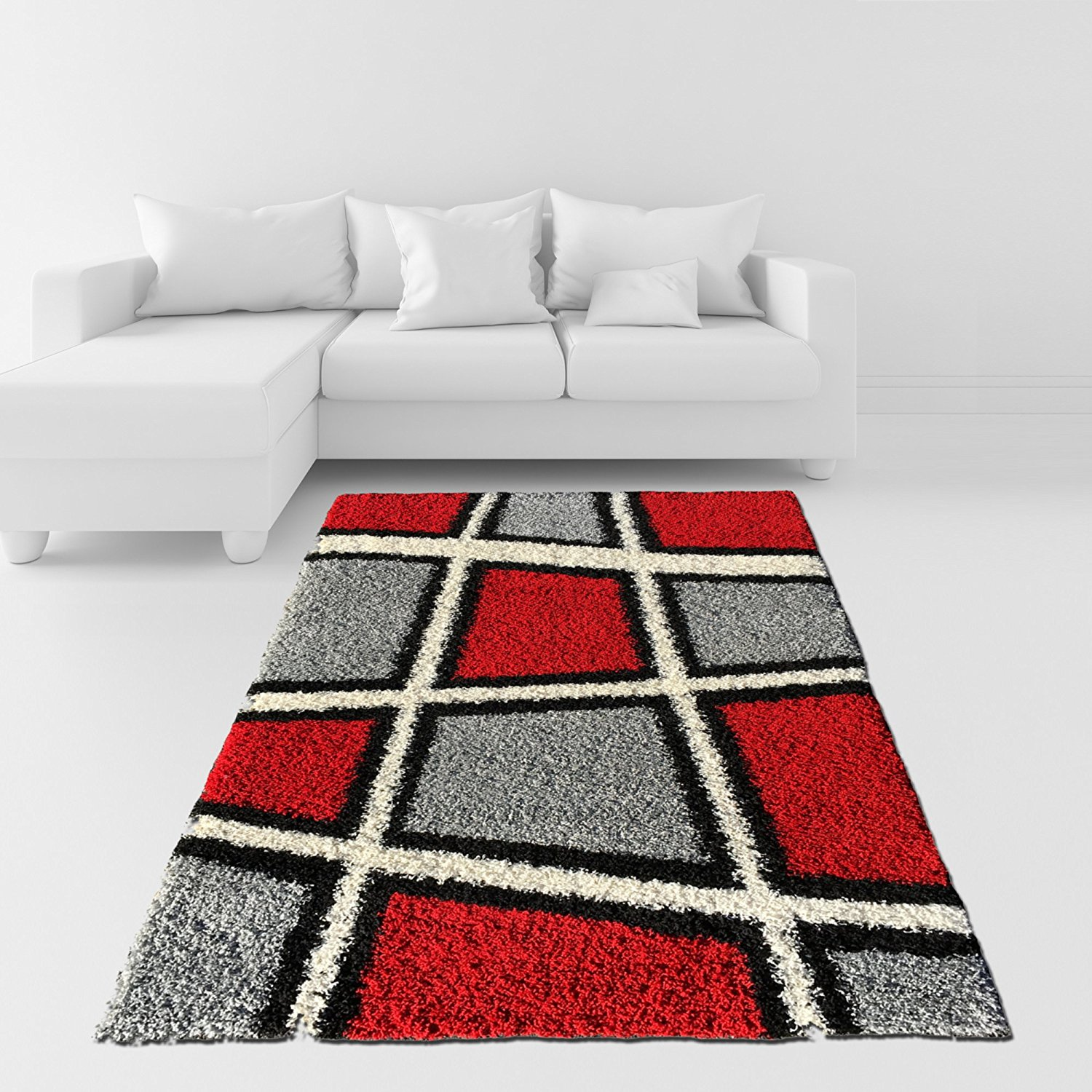 Soft Area Rug 3x5 Geometric Tile Design Red Ivory Black Grey Gy Contemporary