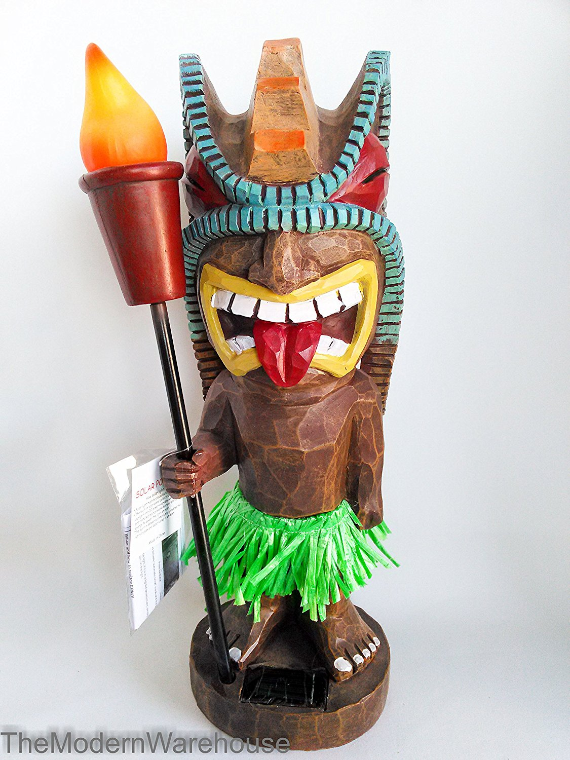 Tiki Warrior Alien Outdoor Statue Solar Light Torch Tiki Bar Garden Statues  Yard Lighting Decorations 18