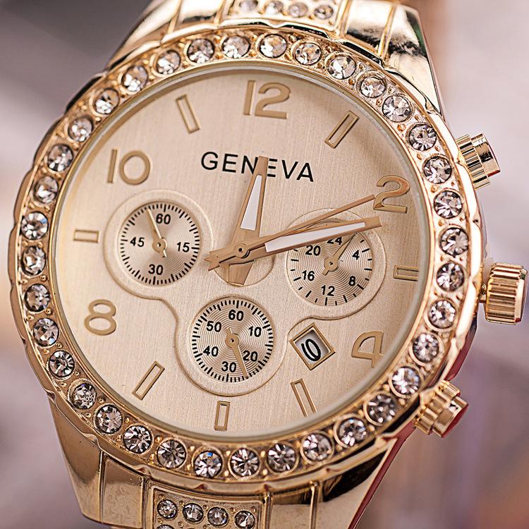 Hot Products Geneva Pastel Bezel Metal Calendar Watch Women Crystal Bezel Watches Relojes De Mujer