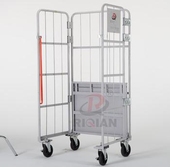 OEM pulley logistics warehouse storage metal folding flip transport trolley