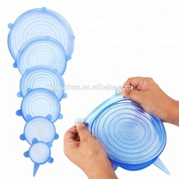 Food Grade BPA Free Silicone Stretch Lids 6 pack Reusable Silicone Food Covers