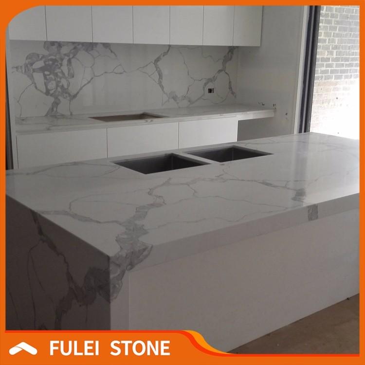 Carrara Marble Kitchen Benchtops: Faux Calacatta Statuario Marble Quartz Kitchen Benchtop Countertops
