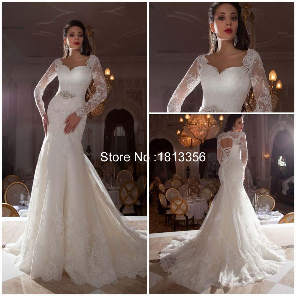 2015 New Elegant Full Long Sleeves Mermaid Wedding Dresses: 2015 Lace Long Sleeve Mermaid Wedding Dresses -in Wedding
