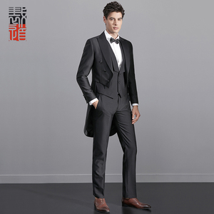 Men's Slim Fit Coat Pant Vest Tail Tuxedo Model Morning Tuxedo Suits