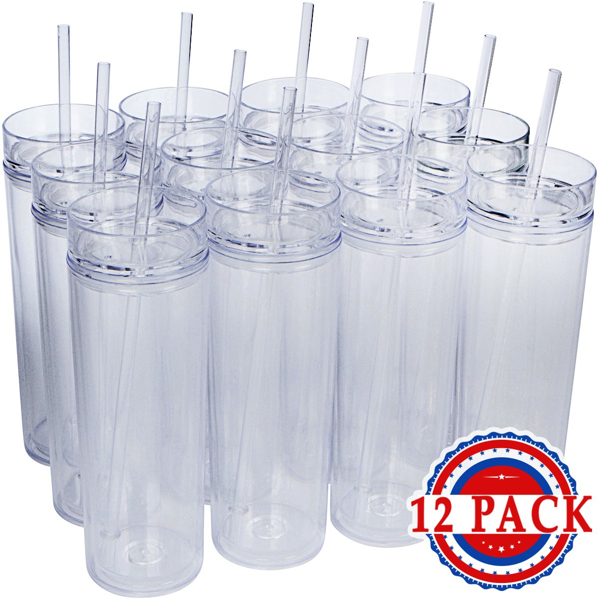 40aeaf671ce Get Quotations · 12 Pack - Insulated Acrylic Tumblers with Lids and  Reusable Straws, 16oz Clear Skinny Travel