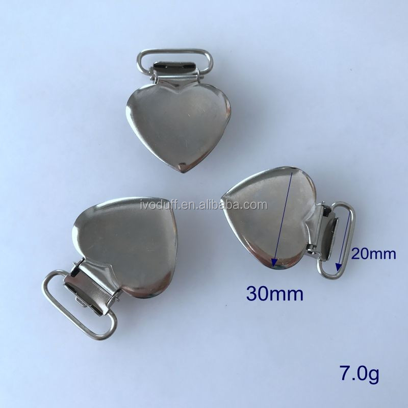 Wholesale Metal Nickle Free Heart Shape Pacifier clips for baby