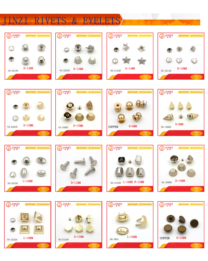 High quality 20mm trapezoid shape rivets and studs for leather bag decoration