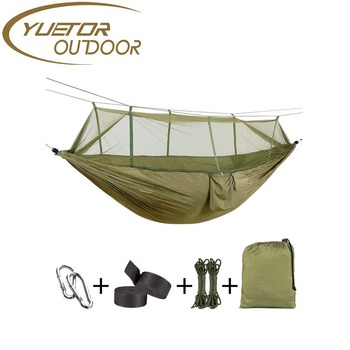 Lightweight Portable Parachute Nylon Camping Hammock with Mosquito Net for Indoor,Outdoor, Hiking, Camping, Backpacking, Travel