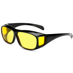 61d09a424f Fashion Unisex Driving HD Night Vision Wraparounds Sunglasses Fits Over Glasses  Polarized Driving Night View Sunglasses
