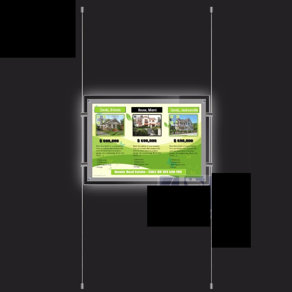 Hanging single side or double sided Crystal Acrylic LED Panel Display Lightbox for Real Estate