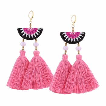 2017 New Arrival Fashion Designer Earrings Hand Made Embroidery Flower Metal Bead Crystal Tels For