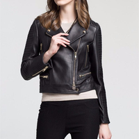 Good quality factory price lady biker real leather jacket woman motorcycle leather jacket