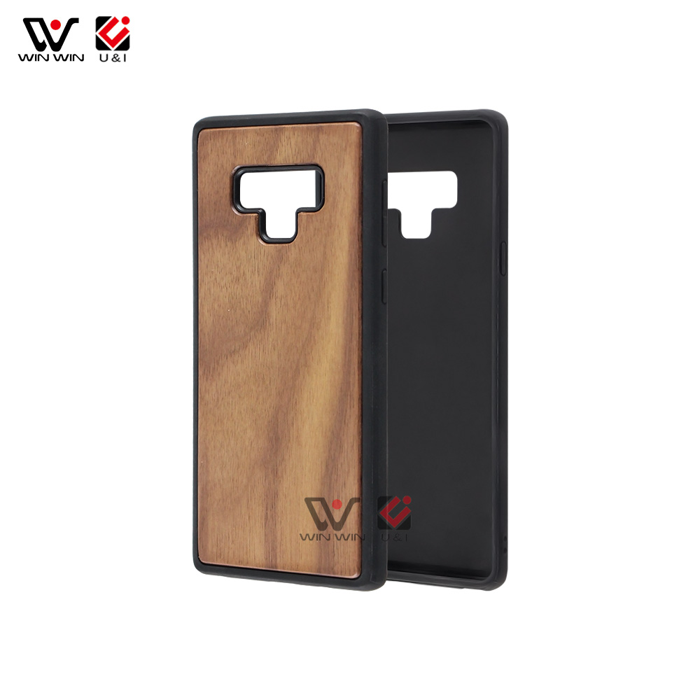 Custom Logo OEM Natural Blank Wood Cell Phone Case For Samsung Note 9