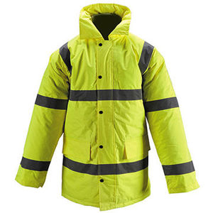Hi-Vis Rain Jacket 300D Oxford PU Coated Lightweight Breathable work wear uniform