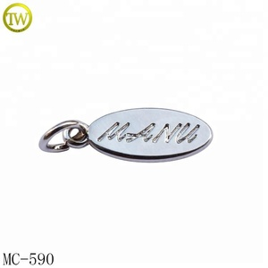 MC590 Custom made silver jewelry metal logo tags oval metal charm pendent for bracelets