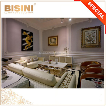 Italian New Design Metal Cast Frame Living Room Furniture, Quilting Design Leather Upholstery Sofa And Table Set