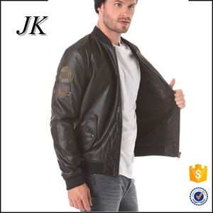 mens leather motocycle slim fit embroidery patches bomber jacket