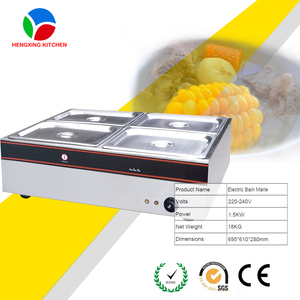 Bain Marie Food Warmer - Countertop, 6 * GN 1/2, S/S, CE Instant Soup Machines