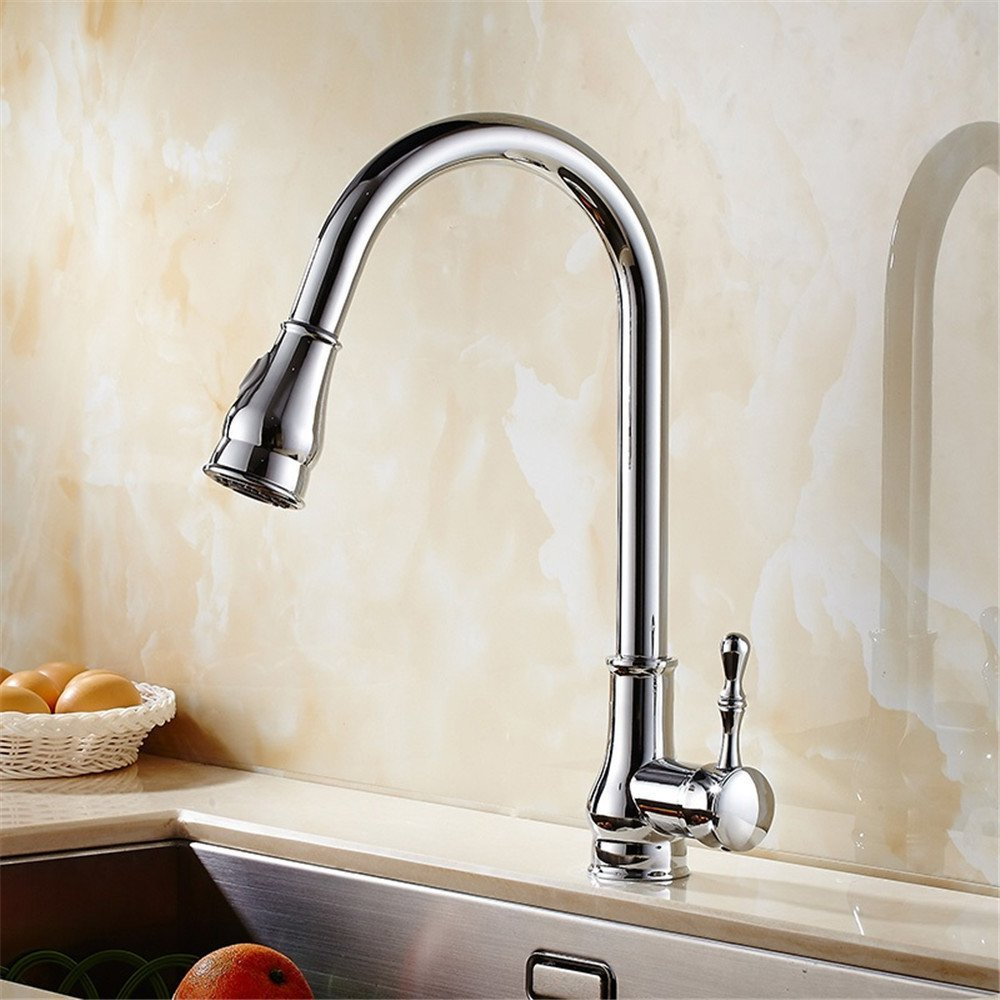 FHLYCF Faucet, pull type cold and hot water, all copper basin faucet, dish basin faucet, retractable swivel trough faucet