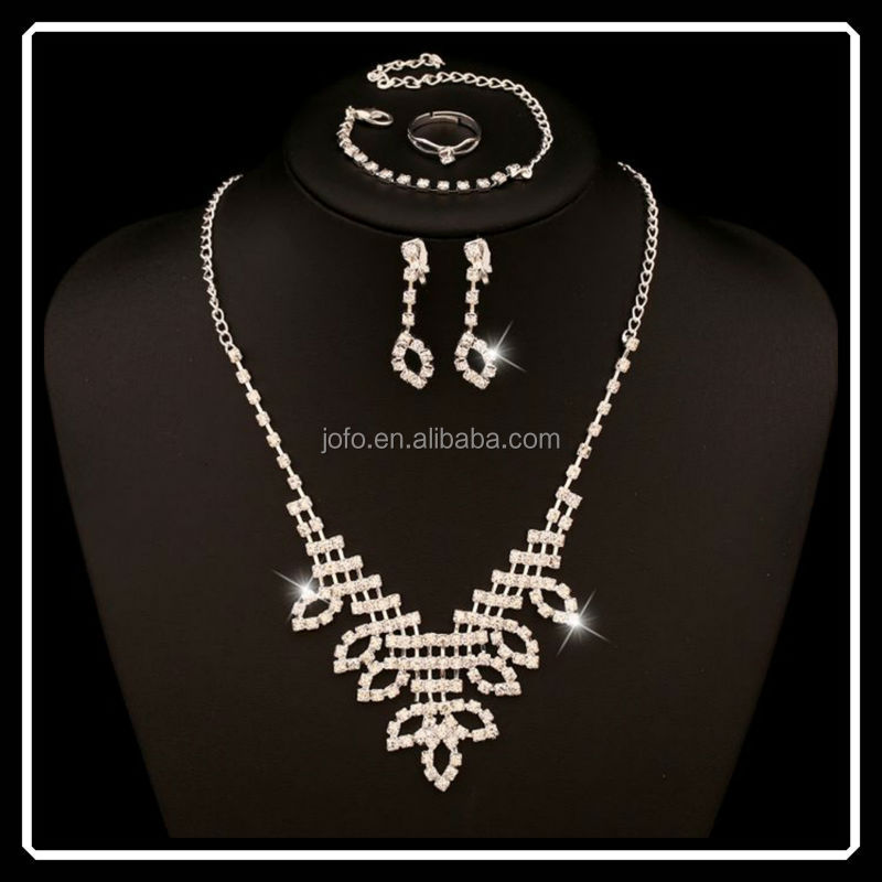 Cheap Rhinestone Beautiful Design Leaf Shape Jewelry Sets For Bridals From China