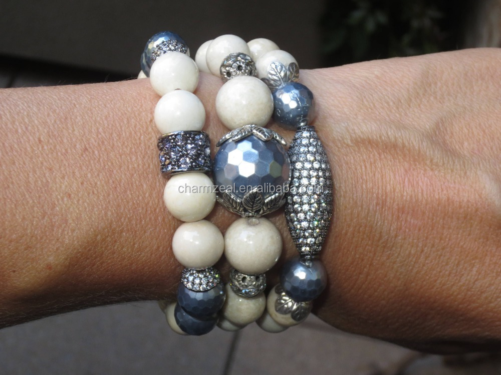 CZ-B0175 wholesale hematite Gemstone Beads and Grey Shell Beads With Pave Crystal, Stretch shell Bracelet,charms bracelet