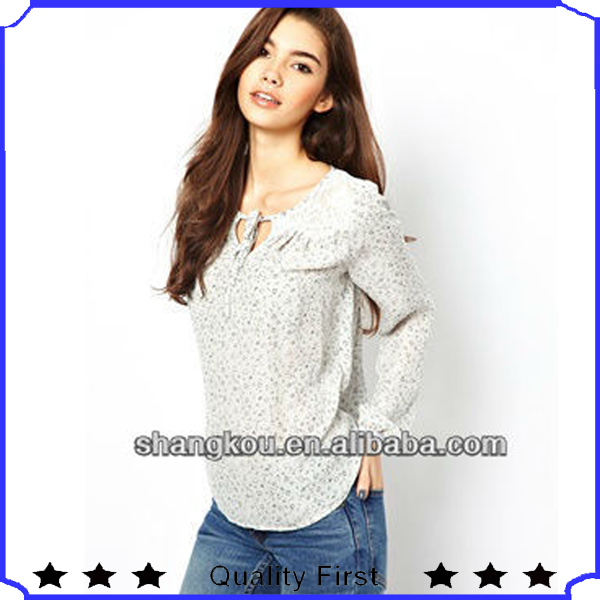 OEM &ODM manufacture fashion design autumn women non print smock tunic ,lonng sleeve and self-tie neck chiffon tops shkz 36