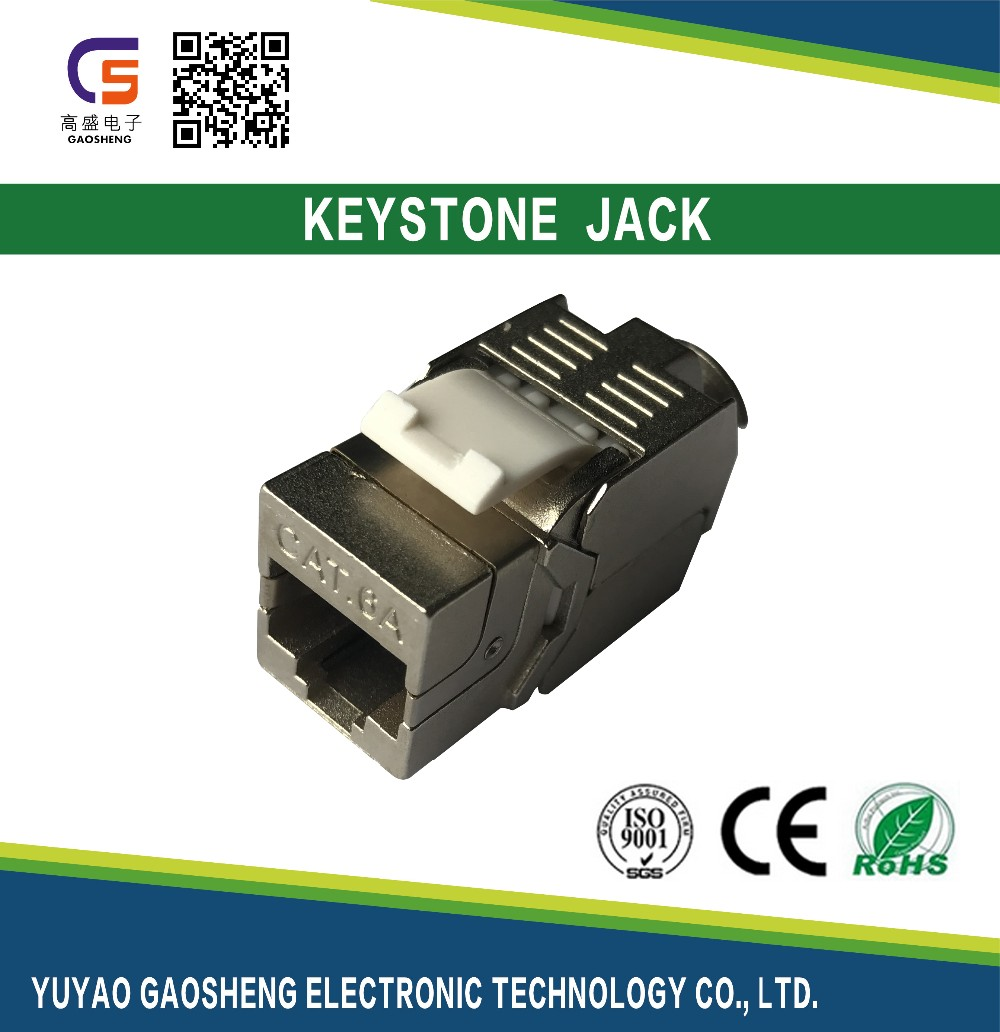 Cat 6A Shielded Keystone Jack - Professional Series Fully Shielded - For STP RJ45 Network Data Connections