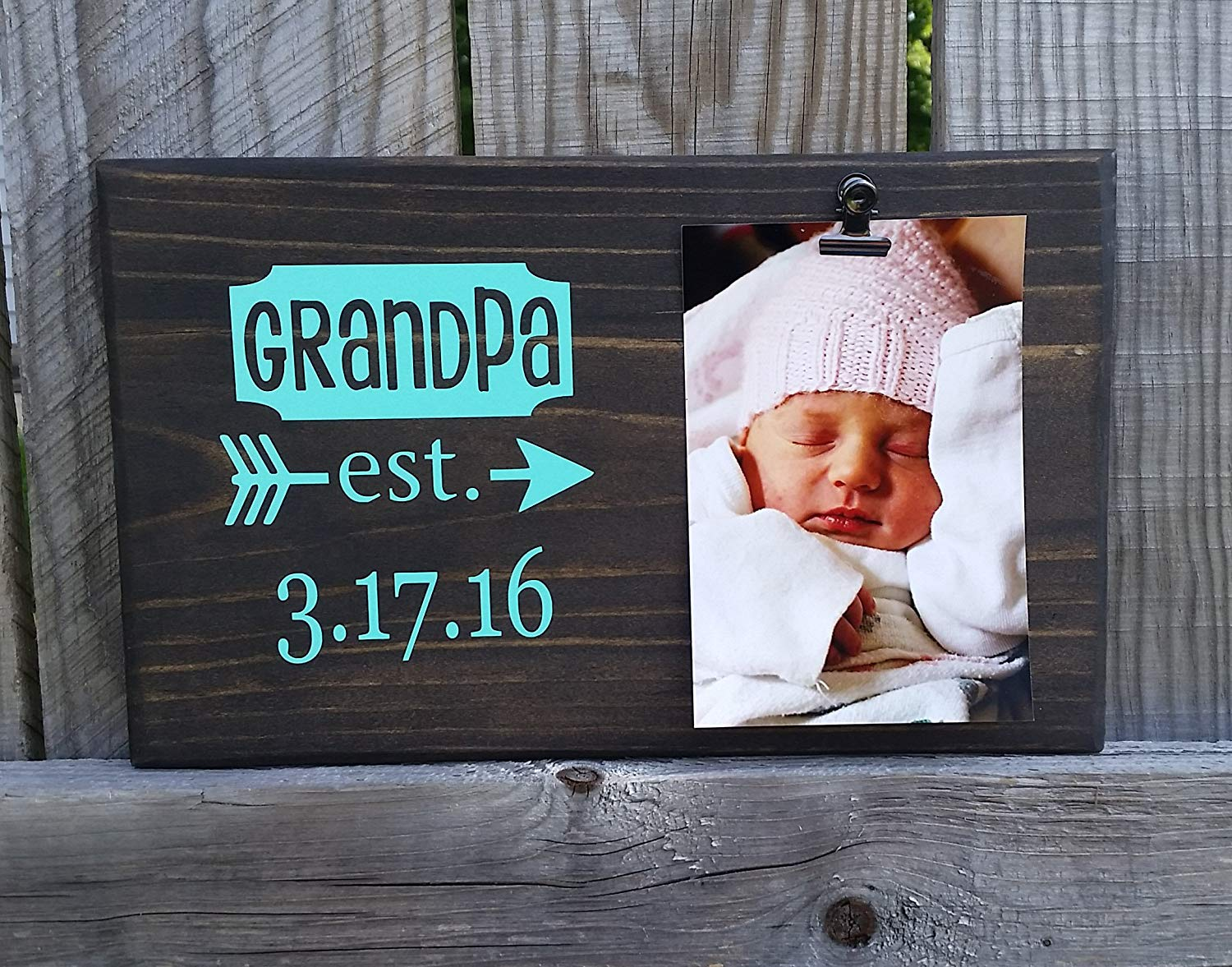 Established Dates Picture Frame gift! Gift for dad, photo board, picture with clip, gift for grandpa, Father's Day gift, gift for husband EST7x12, Father's Day*
