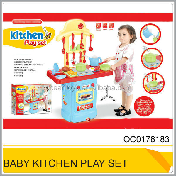 Intelligent Plastic Toys Kitchen Play Set With Music & Light OC0178183