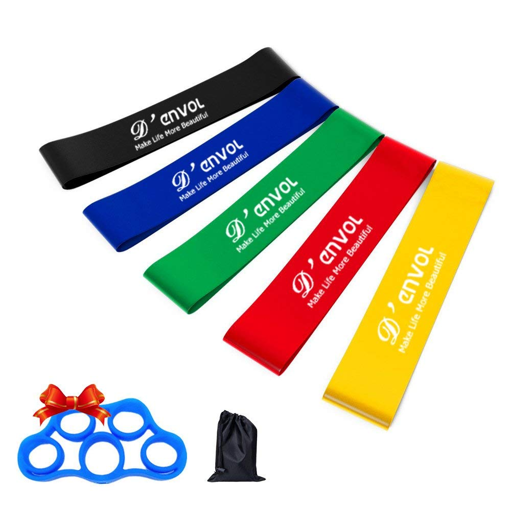 D'envol Resistance Loops Exercise Bands 10 inch Pack of 5 Mini Resistnace Bands with Carry Bag for Women Men Strength Training,Home Fitness,Physical Therapy