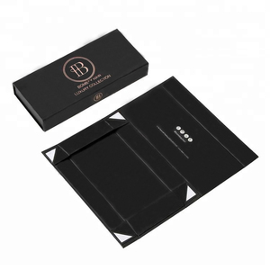 Black Packaging Custom Magnet Folding Paper Flat Pack Boxes Luxury Magnetic Gift Box with Magnet Closure