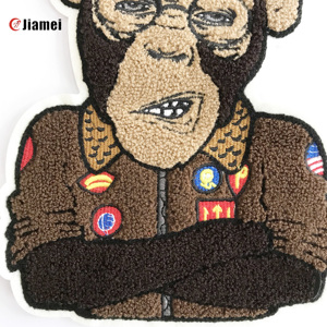 Cartoon animal cheap iron on towel chenille embroidery patch/badge