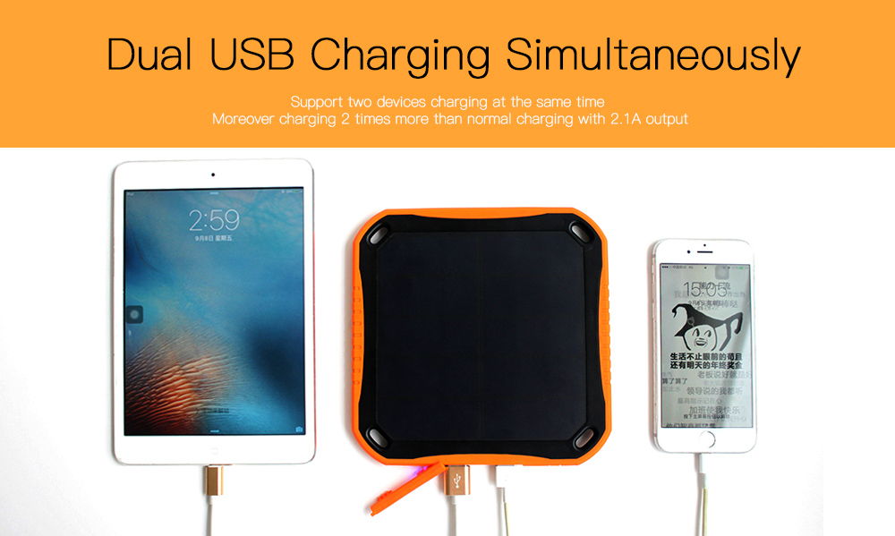 Sungzu Portable Solar Power Bank 5600mAh Dual USB Waterproof Outdoor Emergency Mobile Charger WIth 8 LED Lamps