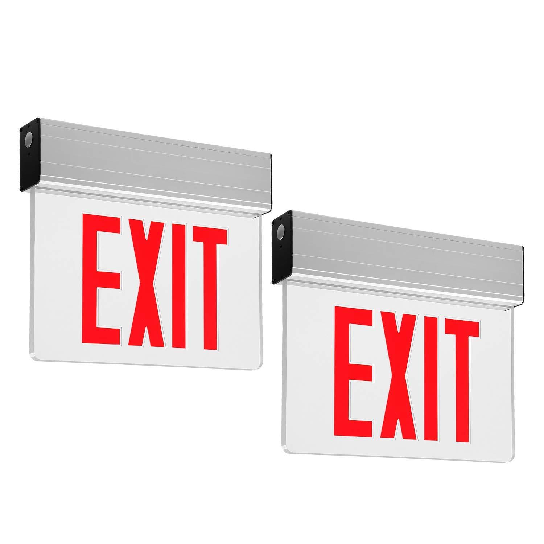 Red LED Emergency Light Exit Sign with Battery Backup, UL Listed, AC120V/277V, Single/Double Face, Ceiling/Side/Back Mount Sign Light, for Hotels, Restaurants, Hospitals, Pack of 2