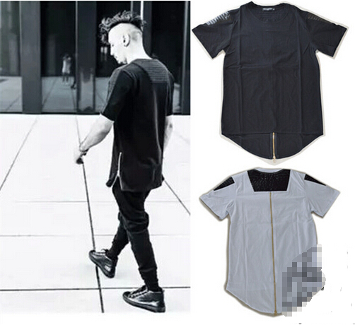 9153154e862c Buy Exclusive hip hop Men leather t shirt tyga Gold oversized zipper t-shirt  swag casual Fold pu patchwork extended black tee tshirt in Cheap Price on  ...