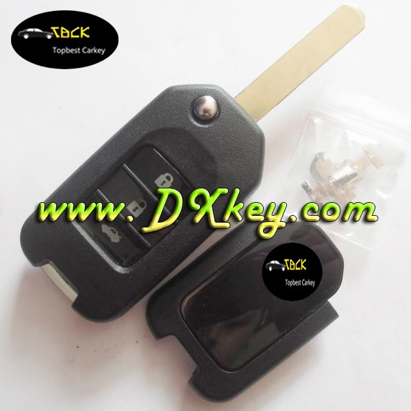 Topbest car key shell for H-oda modified 3 buttons modified flip key shell for honda XRV new FIT flip cover