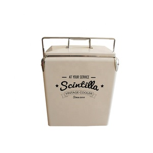 Top quality white 17L custom vintage retro cooler boxes picnic beach  camping metal Ice cooler