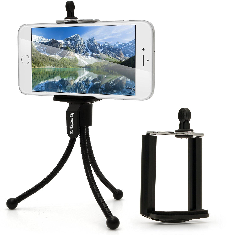 dbce6e1e58b Get Quotations · iGadgitz Black Flexible Mini Table Top Tripod with Pocket  Clip + Standard Smartphone Holder Mount Bracket