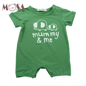 25f26edde0 Wholesale Baby Summer Cotton Green Printed Elephant Onesie Baby Romper
