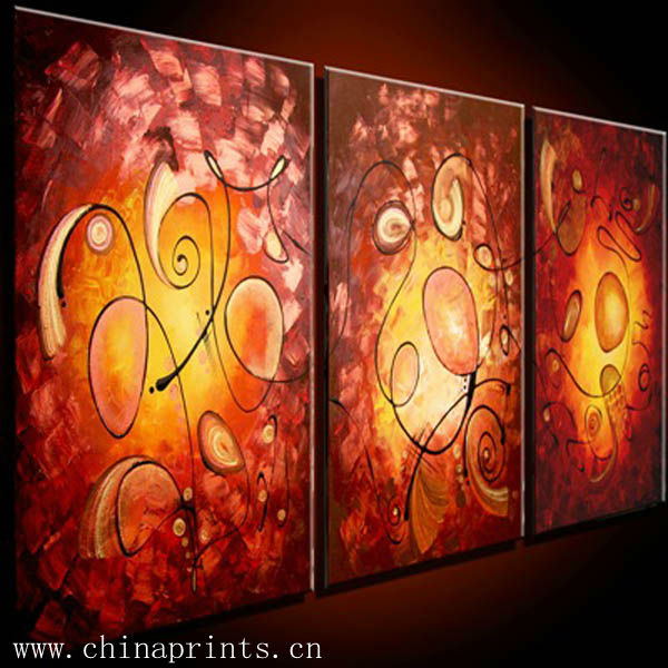 Handmade Multipanel Romantic Red Canvas Oil Painting