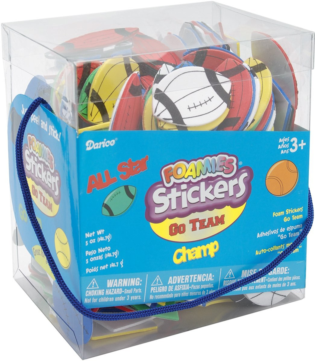 Darice 1040-73 Bucket of Foamies Stickers, Go Team, 5-Ounce