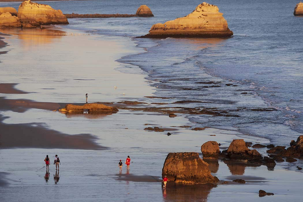 Portugal, Photography, Beach at Praia da Rocha, Algarve, Atlantic Ocean, people, high angle, boulders, Europe, Art Print, Wall Art, Gift, Decor, Photo