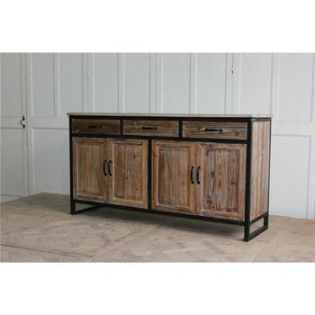 Industrial Style Kitchen Furniture Metal Frame Natural Wood Sideboard