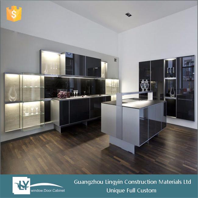 Nieuwe betaalbare moderne keuken unit klare zwarte lak china gemaakt keukenkast met sink voor - Meubilair zwarte keuken lak ...